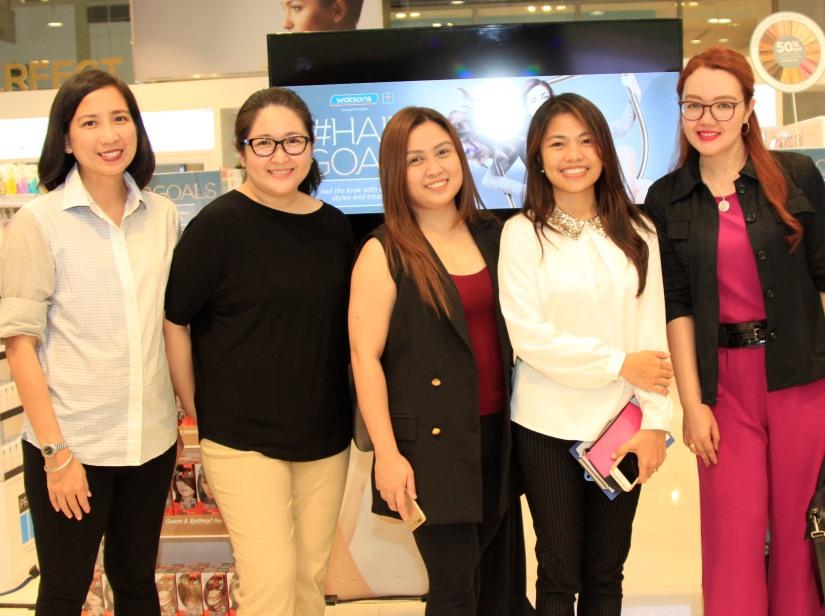 Joyce Jacobe and Daphne Magdangal from Splash Corp; Aimee Pernia, Watsons; Fern Yonco of Unilever; Agnes Caaya from Lolane